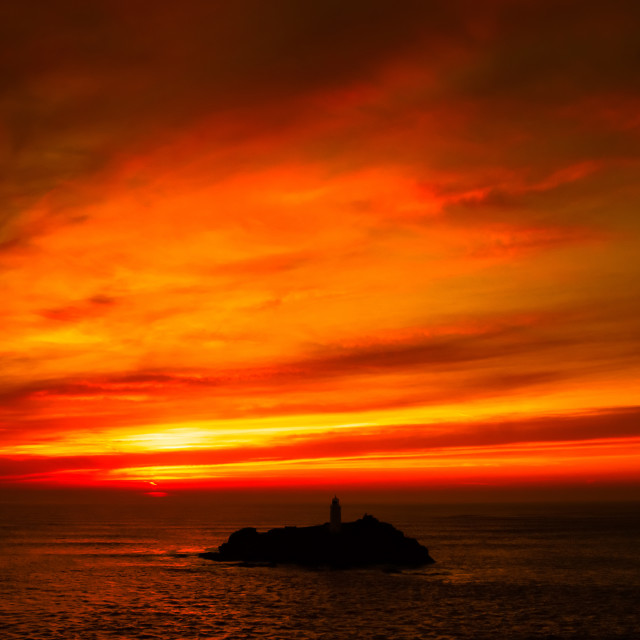 """Godrevy fire sunset"" stock image"