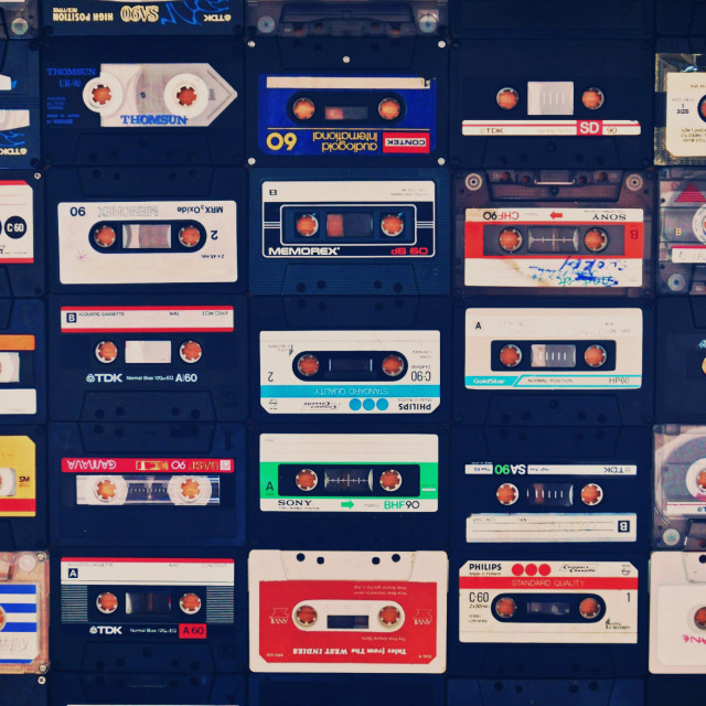 """Collection of classic retro cassette tapes"" stock image"