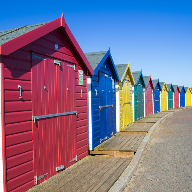 """Colourful beachhuts"" stock image"