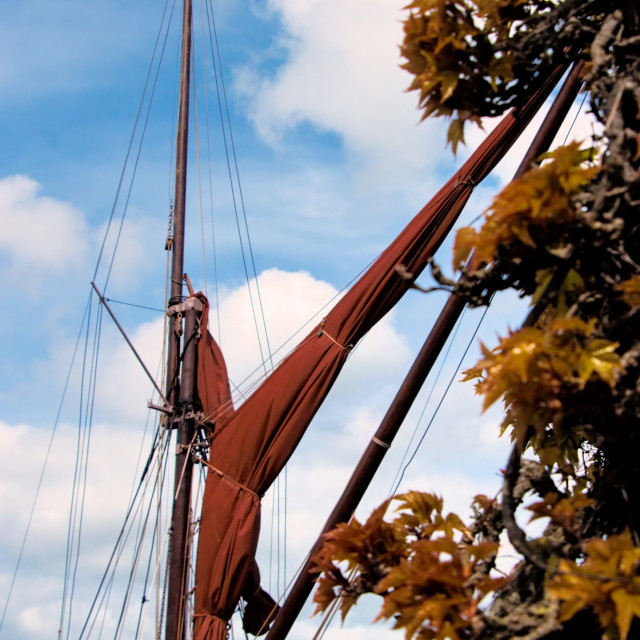 """Sailing Barge Sail and Rigging"" stock image"
