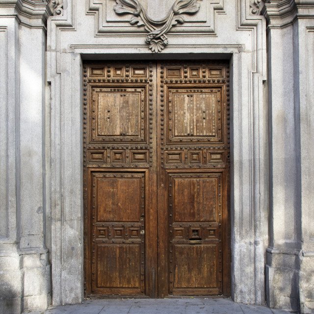 """Old door in majestic building entrance"" stock image"