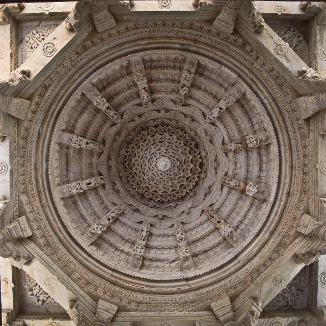 """Marble ceiling of Ranakpur temple"" stock image"