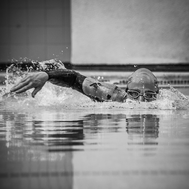 """Swimmer in triathlon"" stock image"