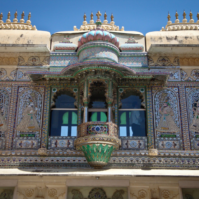 """Peacock decoration in Rajasthani palace"" stock image"