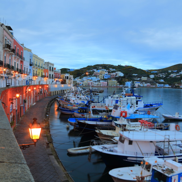 """The colorful houses in the Ponza's harbour"" stock image"