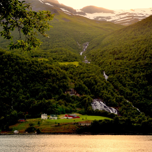 """Old farm whith a view, Norway"" stock image"