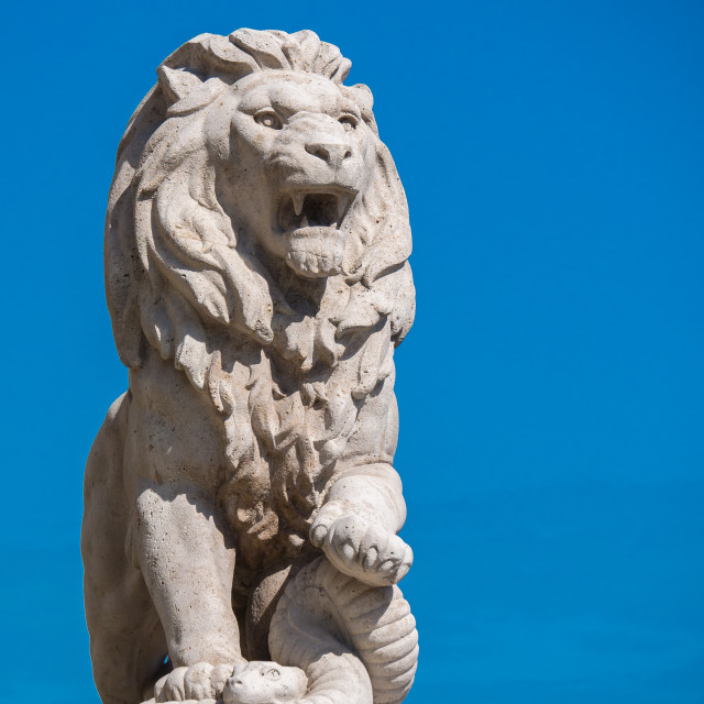 """Lion Statue in Budapest"" stock image"