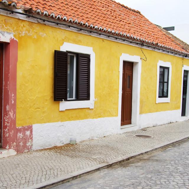 """Old street of algarve region,Portugal"" stock image"