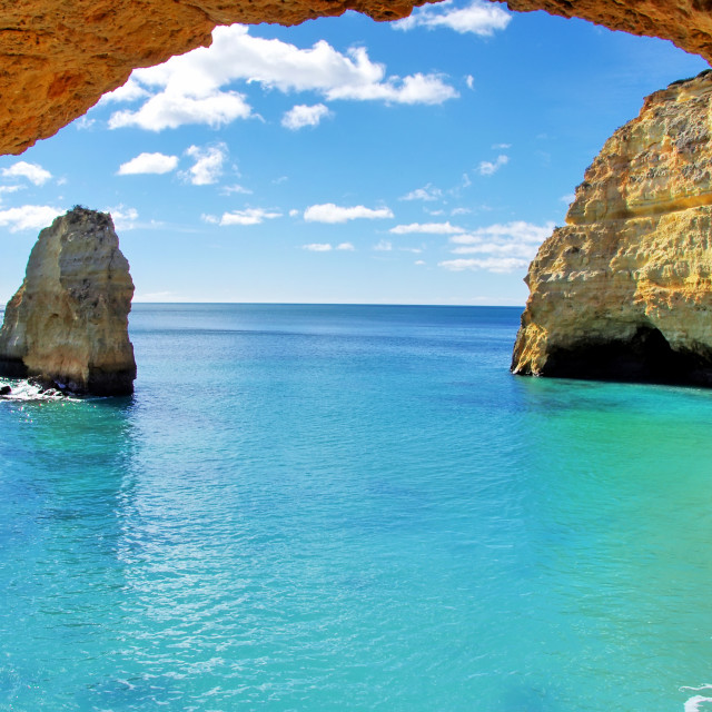 """rock formations on the Algarve coast, Portugal"" stock image"