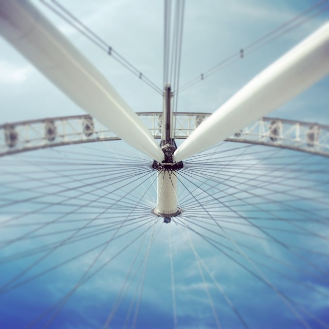 """""""View from underneath the London Eye, looking straight up."""" stock image"""