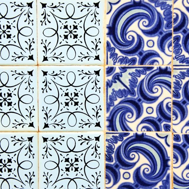 """portuguese tiles (Azulejos) at a facade in Olhao, Algarve"" stock image"