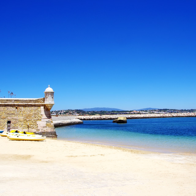 """""""Fort and harbour in Lagos, Portugal"""" stock image"""