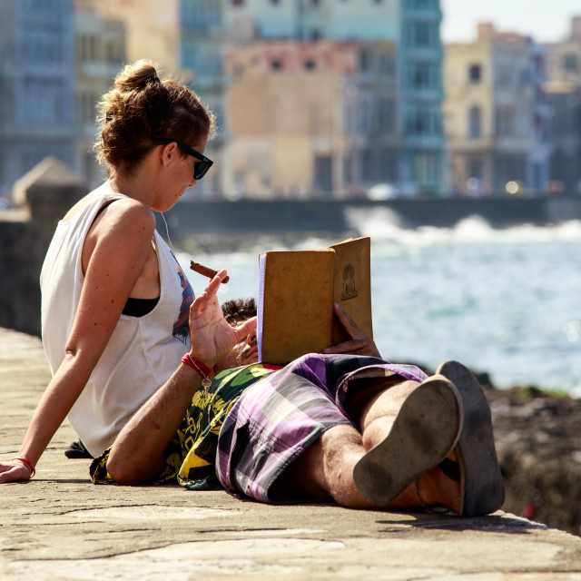 """""""Couple on The Malecon"""" stock image"""