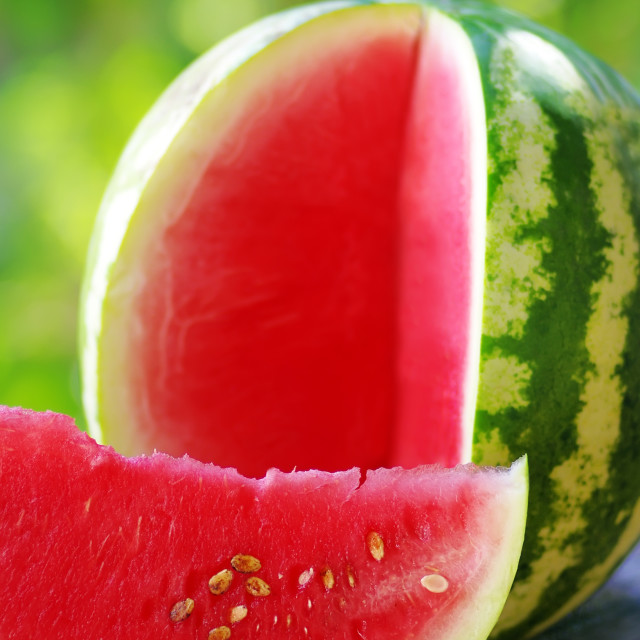 """watermelon and slice on table"" stock image"