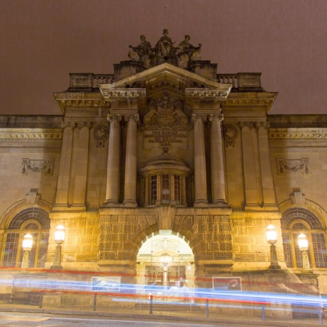 """Bristol Museum with light steaks"" stock image"