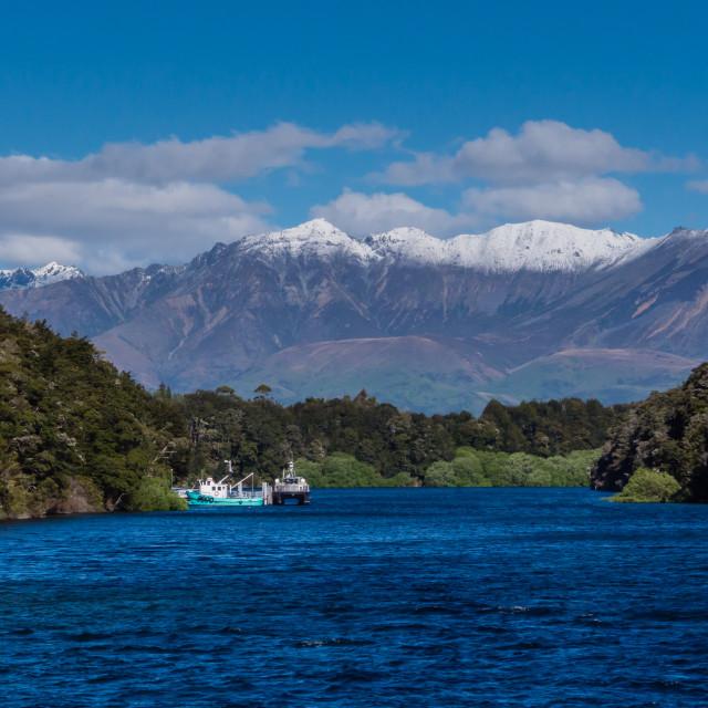 """""""Lake Manapouri background"""" stock image"""