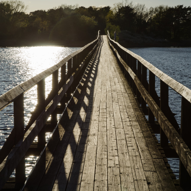 """Backlit footbridge"" stock image"
