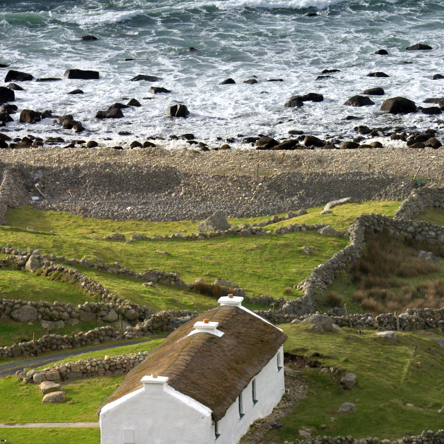 """Thatched Cottage in County Donegal"" stock image"