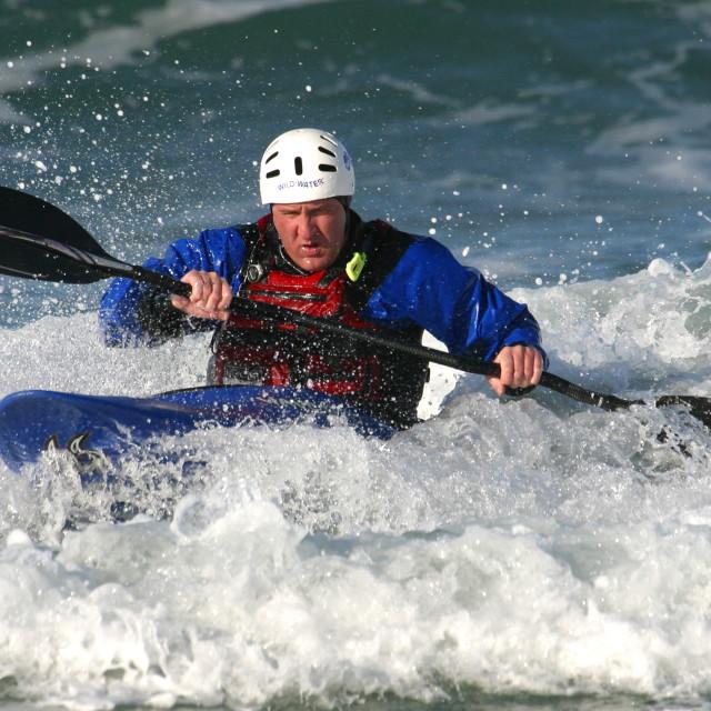"""Sea Kayaker in Northern Ireland"" stock image"