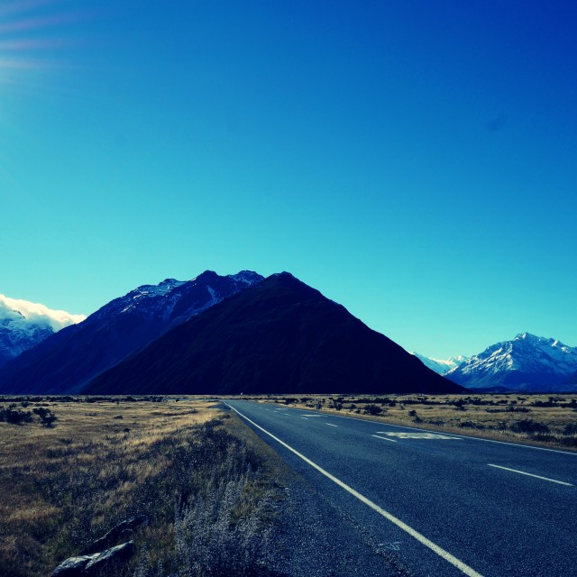 """Road to Mt Cook"" stock image"