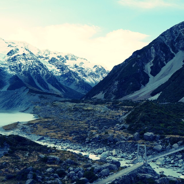 """bridge by Mt Cook"" stock image"