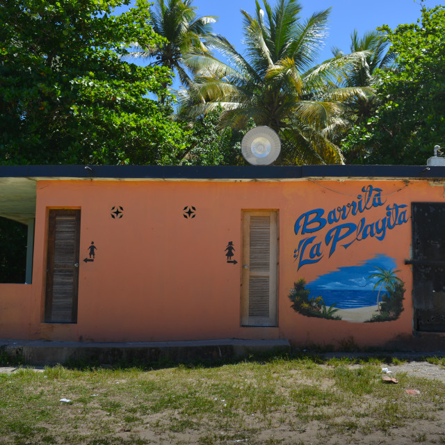 """Closed restaurant; once by the shore at Barceloneta, Puerto Rico."" stock image"