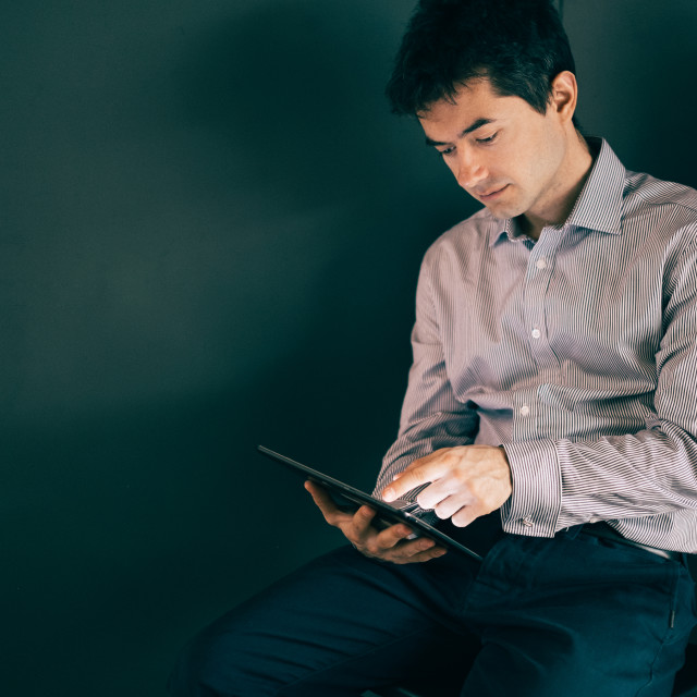 """Man with tablet"" stock image"
