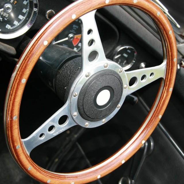 """Wooden steering wheel - MGB roadster"" stock image"