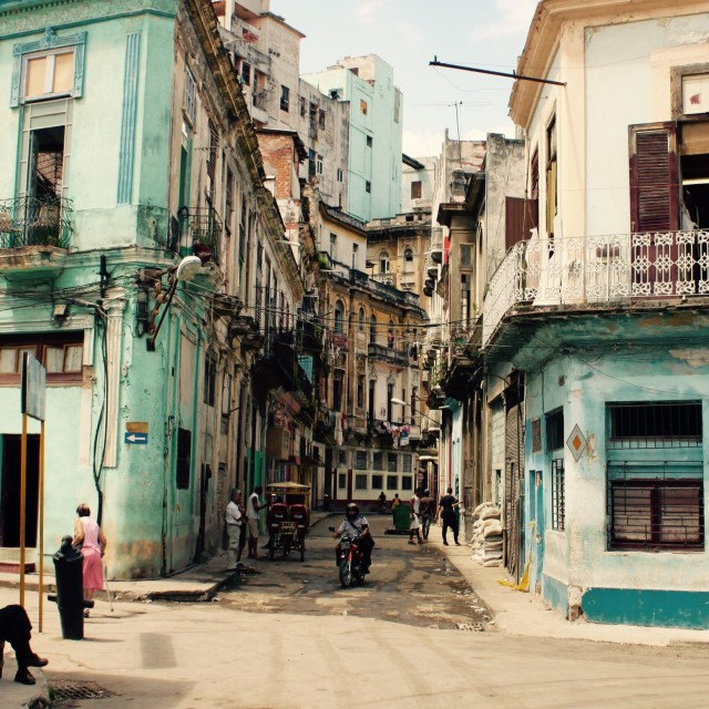 """Old Havana street life"" stock image"