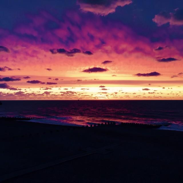 """Sunrise over Eastbourne"" stock image"