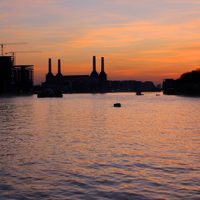 """London River Thames Sunset Battersea Power Station"" stock image"