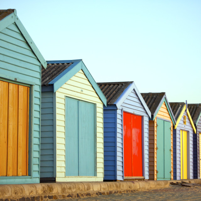 """A row of Colourful Houses at the Beach"" stock image"