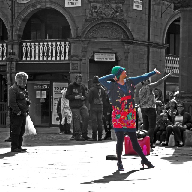 """""""Dancing girl in Chester"""" stock image"""