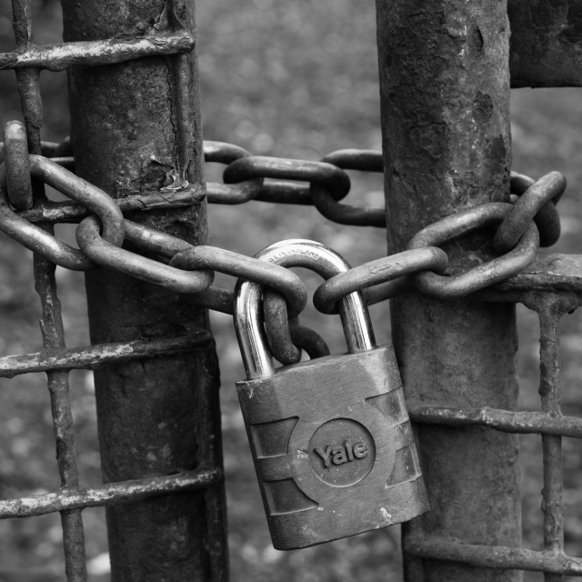 """Lock and Chain (close)"" stock image"