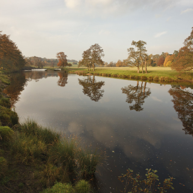 """Chatsworth Park, River Derwent, Derbyshire, England"" stock image"