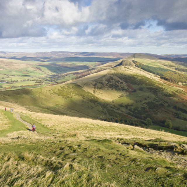 """View from Mam Tor along Great Ridge, Derbyshire Peak District, E"" stock image"