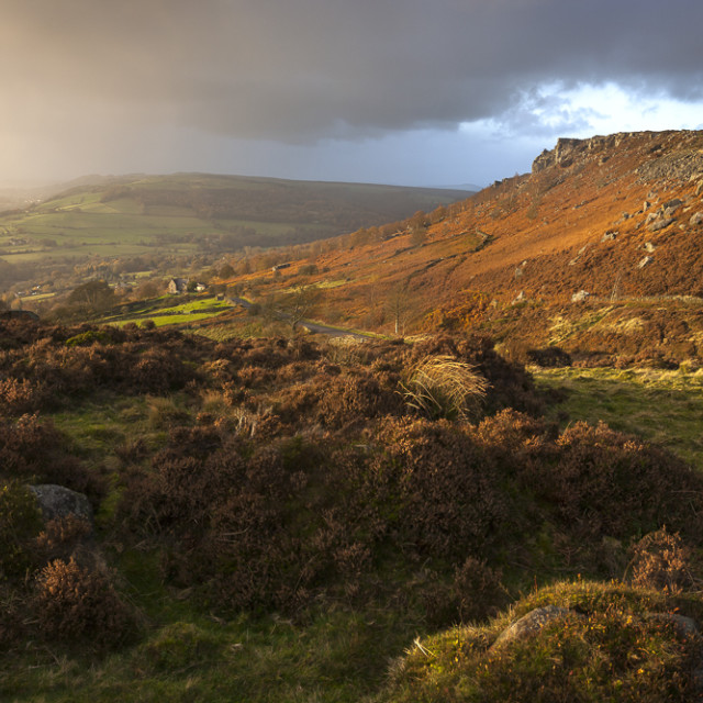 """Curbar Edge from Baslow Edge, Derbyshire, England"" stock image"