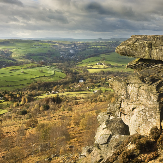 """""""Curbar Edge and view, Derbyshire, England"""" stock image"""