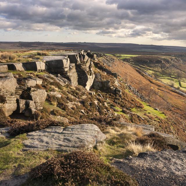 """Curbar Edge and view towards Baslow Edge, Derbyshire, England"" stock image"