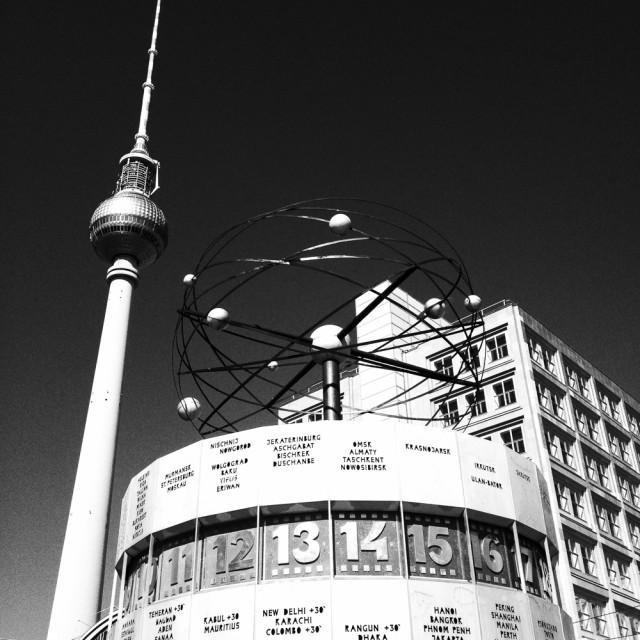 """World Clock and Television Tower, Alexanderplatz, Berlin, German"" stock image"