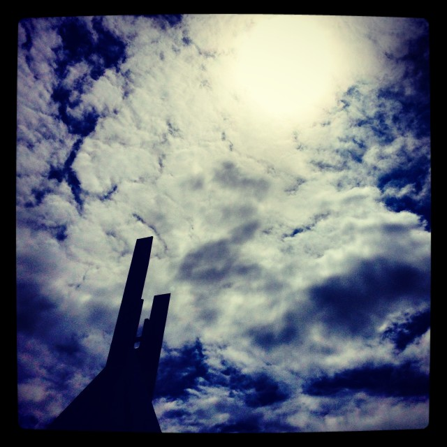 """""""clouds in the sky above clifton cathedral"""" stock image"""
