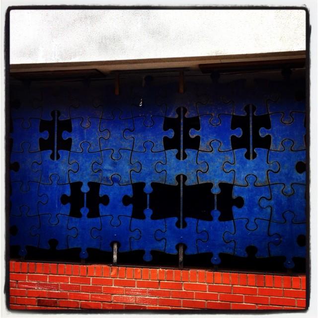 """jigsaw outdoor street art bristol"" stock image"