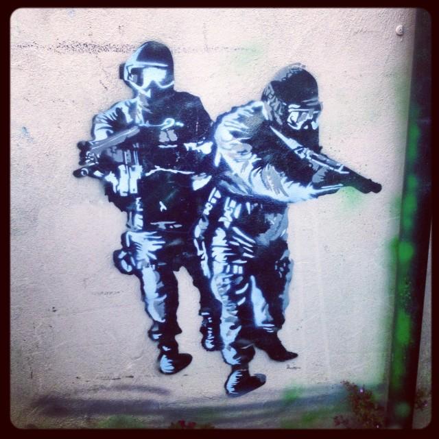 """street art bristol soldiers"" stock image"