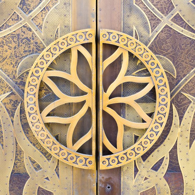 """Close-up of detail on a mosque door, Dubai"" stock image"