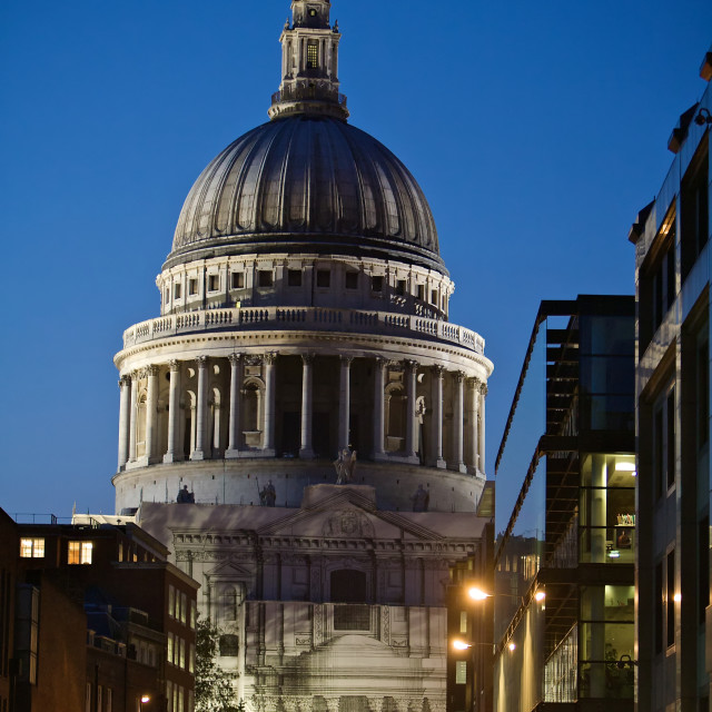 """St Paul's Church at Night"" stock image"
