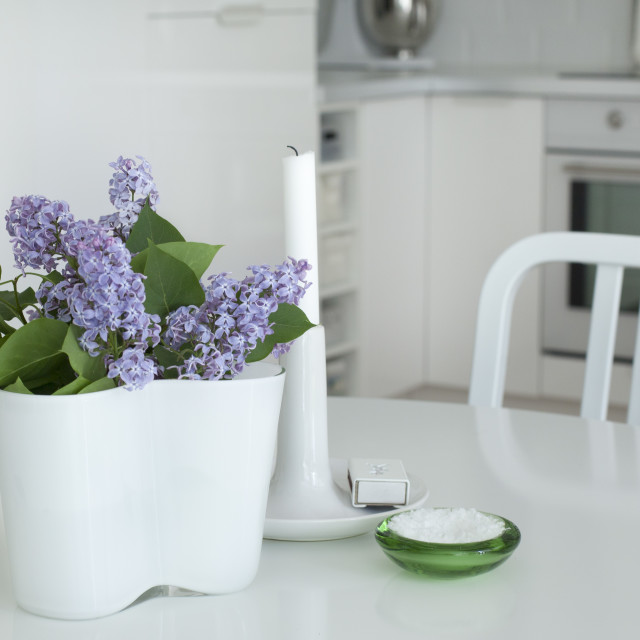 """Lilacs in the kitchen"" stock image"