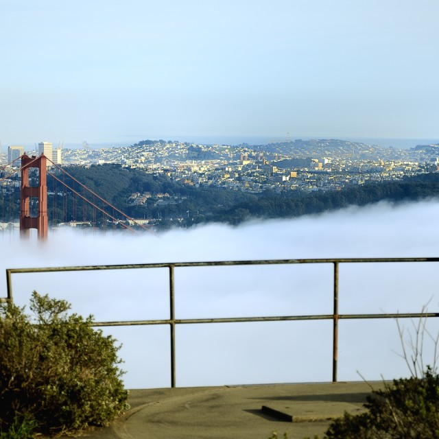 """Fog over Golden gate Bridge"" stock image"