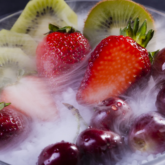"""Fruits in dry ice"" stock image"