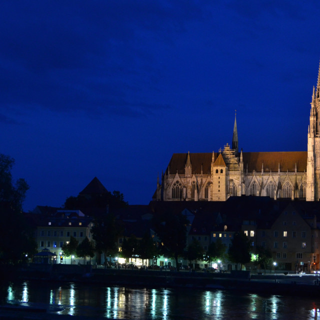 """Regensburg Cathedral at night"" stock image"