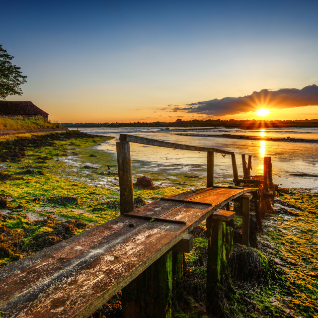"""Landermere Walkway to the Sunset"" stock image"